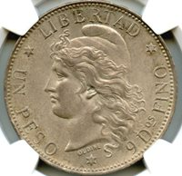 Argentina 1882; Silver Peso; KM 29; Light even toning with minimal marks; The Finest Known; NGC certified MS-64