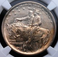 1925 STONE MOUNTAIN COMMEMORATIVE NGC MS 65 LUSTROUS FULLY STRUCK CHAMPAGNE GEM