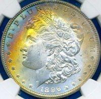HGR 1896 $1 Morgan ((Beautiful RAINBOW Toning)) NGC MS-64 (00050)