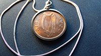 """Mint Red Beauty ~ 1964 Irish Harp Penny on a 24"""" Classic Silver Round Chain"""