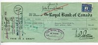 CANADA - Original ROYAL BANK OF CANADA BANKERS DRAFT dated June 3rd , 1946
