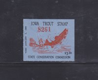 State Hunting/Fishing Revenues - IA - 1968 Trout ($3) - Used (Unsigned)