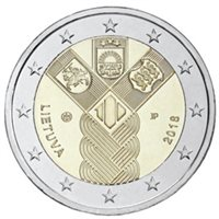 """2018 Lithuania €2 Coin Issue """"Baltic States 100 Years"""""""