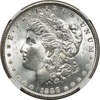1888 Morgan Dollar MS 64, NGC S$1 C41509