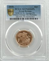 2018 Struck on the Day Gold Full Sovereign Coin PCGS MS70 DMPL - Plain Edge