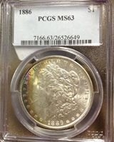 1886 $1 Morgan Rainbow Silver Dollar PCGS MS63