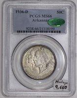 1936-D Arkansas Commemorative Half Dollar PCGS & CAC MS-66; Mintage 9,660