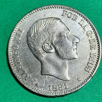 SPAIN PHILIPPINES FIFTY CENTAVO 1881 ALFONSO XII LUSTROUS #521