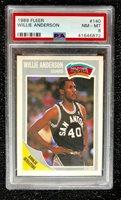 1989 Fleer Willie Anderson 'Rookie Sensation' #140 Basketball Card PSA 8 NM-MT
