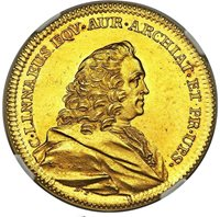 G033 Very rare Carl Linnaeus gold Medallic 8 Ducat Medal NGC MS61,18TH Century