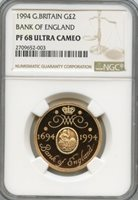 Great Britain 1994; Gold 2 Pounds; Elizabeth; NGC certified PF-68 Ultra Cameo