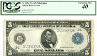 Fr 855a $5 1914 Philadelphia Federal Reserve Note / Extremely Fine 40 PCGS