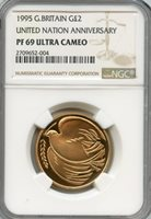 Great Britain 1995; Gold 2 Pounds; Elizabeth; NGC certified PF-69 Ultra Cameo