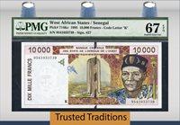 10,000 Francs 1995 West African States/senegal Pmg 67 Epq Superb Gem