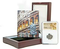 Roman Emperor Tetricus I Coin NGC Certified AU, With Beautiful Wood Box & Story