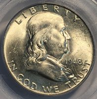 1948 Franklin Half Dollar. PCGS MS 64 FBL.