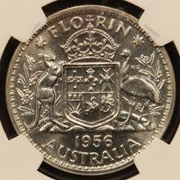 Australia Florin 1956 Silver NGC PF 65