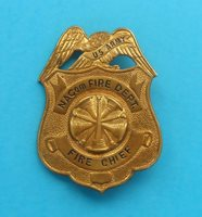US NACom FIRE DEPARTMENT - FIRE CHIEF... original vintage tin badge LARGER SIZE