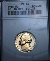 1955 PROOF JEFFERSON NICKEL TRIPLED DIE REVERSE FS-035 SMALL WHITE ANACS PF66