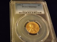 1954-S Lincoln Cent PCGS MS 65 RD