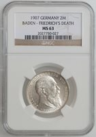 "Baden 2 mark 1907, NGC MS62, ""Death of Frederick I"""