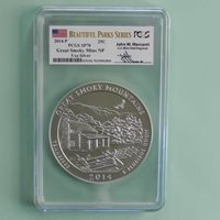 2014-P Great Smokey Mountain 5 oz Silver Coin PCGS SP70 Sign by John M. Mercanti