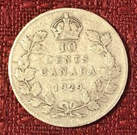 1929 ~ CANADA ~ 10 CENTS ~ GEORGE V ~ VG8 Condition