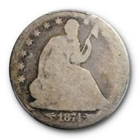 1874 50C Arrows Seated Liberty Half Dollar PCGS AG 3 About Good Low Ball Coin