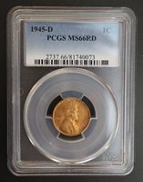 1945 D Lincoln Wheat Cent PCGS MS 66 RD