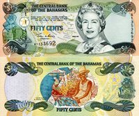 """Bahamas 1/2 Dollar Featured Pick #: 68 2001 UNC Green/Pink/Yellow Queen Elizabeth II; Baskets; Islands Map outline; Sister Sarah in Nassau market; CrestNote 6"""" x 2 1/2"""" North and Central America Sail Ship"""