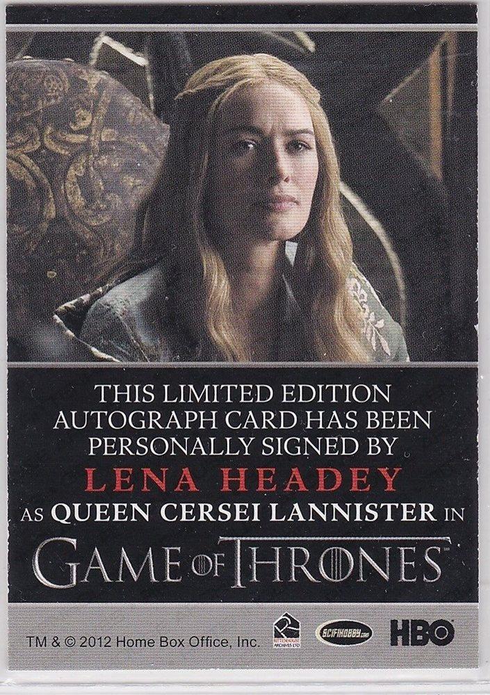 Game Of Thrones Season 1 Lena Headey As Cersei Lannister Autograph Rare Bordered