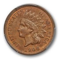 1908 S 1C Indian Head Cent PCGS MS 65 BN Uncirculated Brown CAC Approved Pop 8