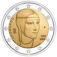 """2019 Italy €2 UNC Coin """"Leonardo da Vinci 500 Years: Lady With an Ermine"""""""