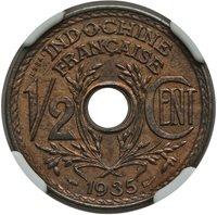 RARE! French Indochina Vietnam 1935 1/2 Cent Essai Bronze LEC-26 NGC MS-64 RB