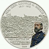Cook 2009 Battle of Gettysburg 5 Dollars Colour Silver Coin,Proof