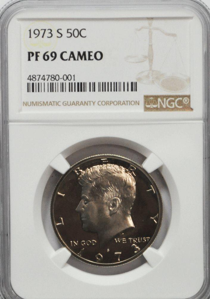 1973-S PCGS PR69DCAM Kennedy Half Dollar Presidential Label