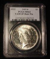 C9231- 1922 VAM-2F HAIR PIN TOP 50 PEACE DOLLAR PCGS MS62