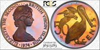 1974-FM BVI 50 CENTS PCGS PR68DCAM PROOF COLOR TONED COIN ONLY 2 GRADED HIGHER