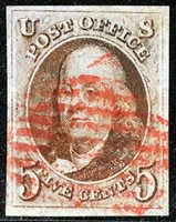 US Scott Number 1 5¢ Red Brown. Square New York Red Grid cancel, even four margins. Price $600 USD
