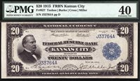$20 1915 Federal Reserve Bank Note FRBN Kansas City PMG 40 - SECOND FINEST KNOWN