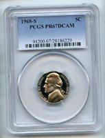 1968 S 5C Jefferson Nickel PCGS PR67DCAM