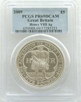 2009 King Henry VIII £5 Five Pound Silver Proof Coin PCGS PR69 DCAM