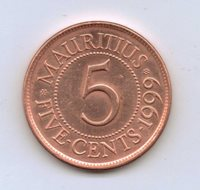 MAURITIUS - 5 Cents 1999 Copper plated steel • 3.0 g • ⌀ 20.0 mm