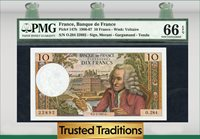1966-67 France 1966- 10 Francs Voltaire Pmg 66 Epq Gem Uncirculated!