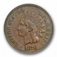 1876 1C Indian Head Cent ANACS VF 30 Very Fine to Extra Fine Better Date
