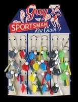 "1940s-1950s ""Gay Sportsman"" Bat, Ball and Glove Keychains Store Display"