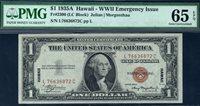 $1 1935A Hawaii Overprint. F2300. L-C block. PMG Gem Uncirculated 65 EPQ. Serial L76636872C.