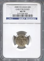 2008-W $5 Early Release Modern Gold Eagle NGC MS70 Modern Gold Eagle