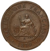1879-A French Cochin China 1 One Cent Bronze Coin - NGC AU 53 BN - KM# 3