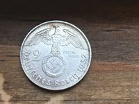 RARE SILVER 1937F Swastika 2 MARK Coin Germany Lot